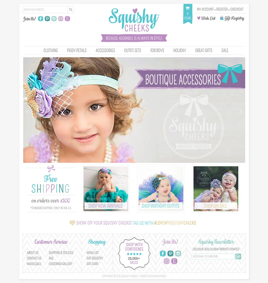 Squishy Cheeks Accessories for Baby / Shopify Boutique Web Design